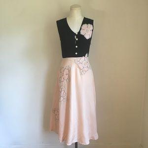 Anthropologie Snak Silk Appliqué Dress Size 0